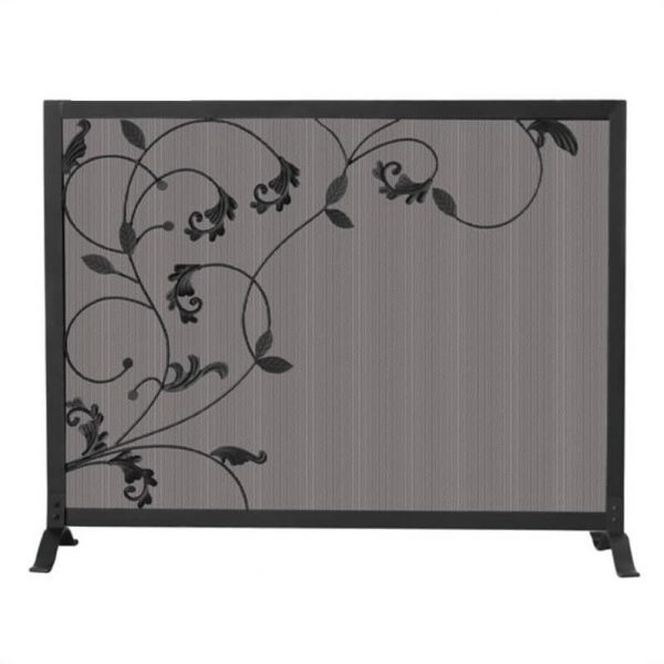 Uniflame Single Panel Black Screen with Flowing Leaf Design 1