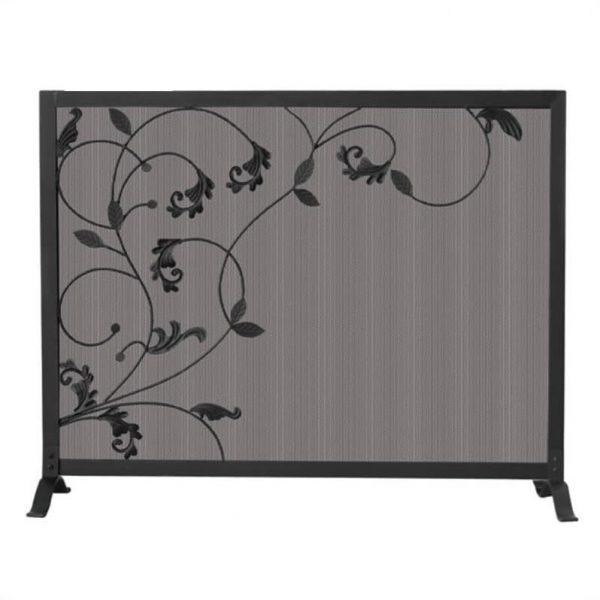 Uniflame Single Panel Black Screen with Flowing Leaf Design 1