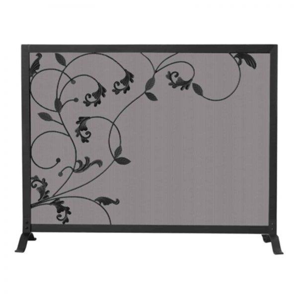 Uniflame Single Panel Black Screen with Flowing Leaf Design