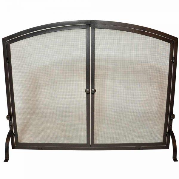 Uniflame Single Panel Iron Fireplace Screen with Doors 1