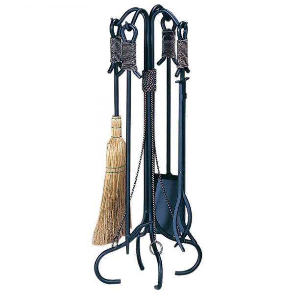 Uniflame Wrought Iron Copper Rope Accent Fireplace Tool Set