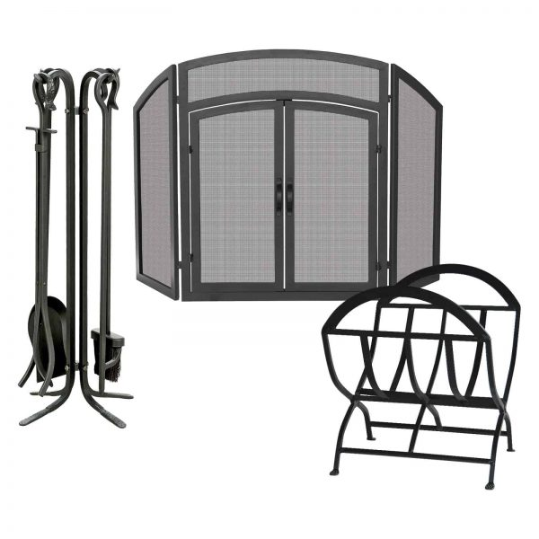 Uniflame Wrought Iron Fireplace Ensemble with Log Rack