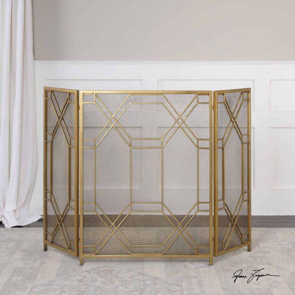 """Uttermost 18707 Antiqued Gold Rosen 34"""" X 53"""" Metal Fireplace Screen 1"""
