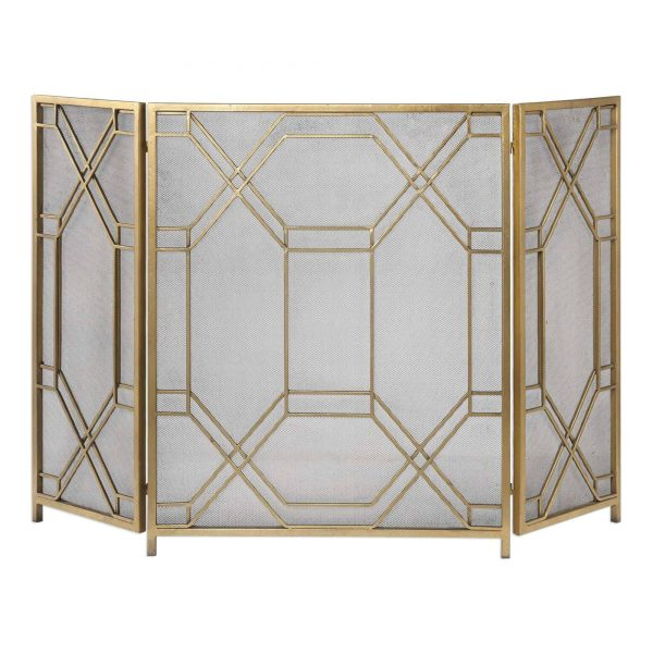 """Uttermost 18707 Antiqued Gold Rosen 34"""" X 53"""" Metal Fireplace Screen"""