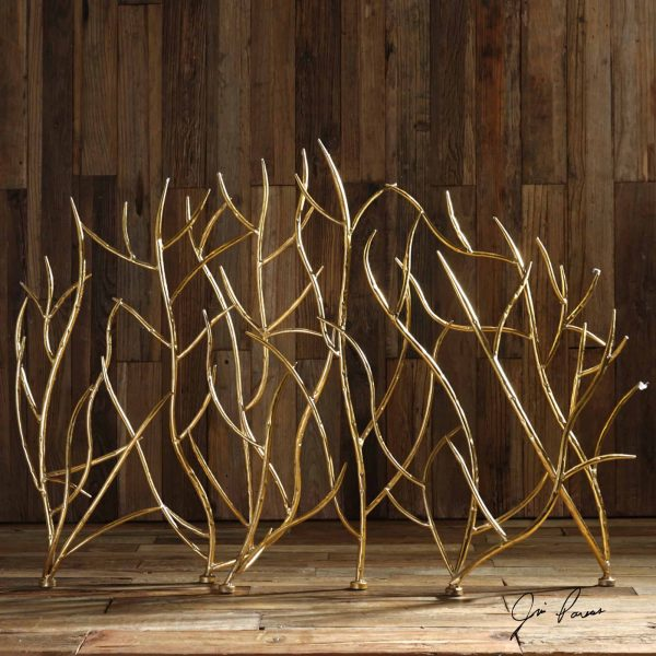 """Uttermost 18796 Bright Gold Leaf Gold Branches 48"""" Wide Iron Fire Screen By Jim Parsons 1"""
