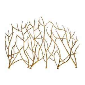 """Uttermost 18796 Bright Gold Leaf Gold Branches 48"""" Wide Iron Fire Screen By Jim Parsons"""