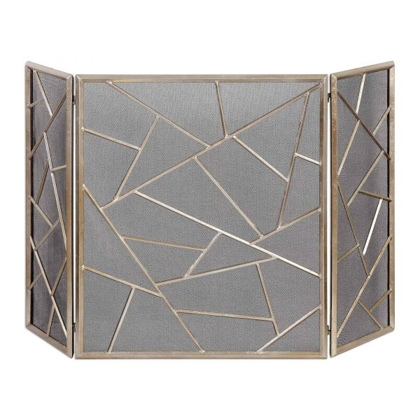 "Uttermost 20072 Silver Leaf Armino 51"" Wide Decorative Fire Screen By Jim Parsons"