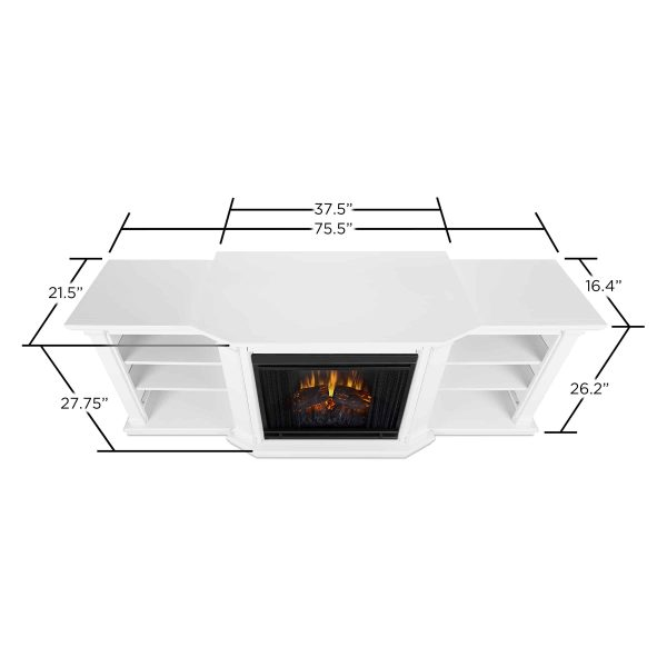 Valmont Entertainment Center Electric Fireplace in White by Real Flame 1