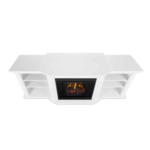 Valmont Entertainment Center Electric Fireplace in White by Real Flame 2