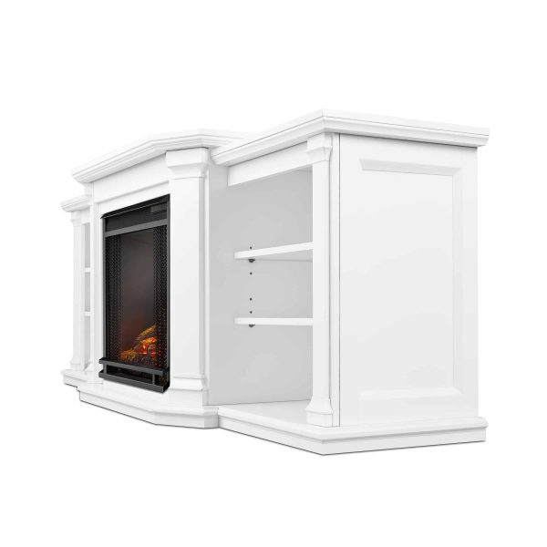 Valmont Entertainment Center Electric Fireplace in White by Real Flame 3