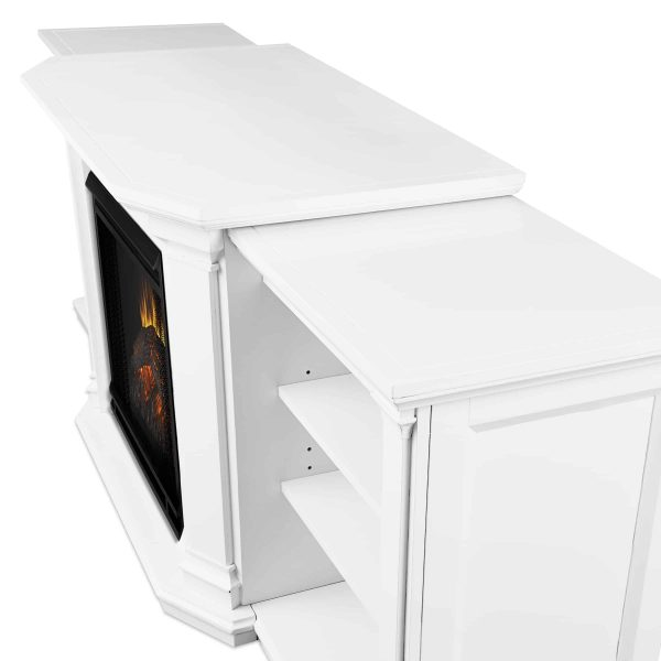 Valmont Entertainment Center Electric Fireplace in White by Real Flame 4