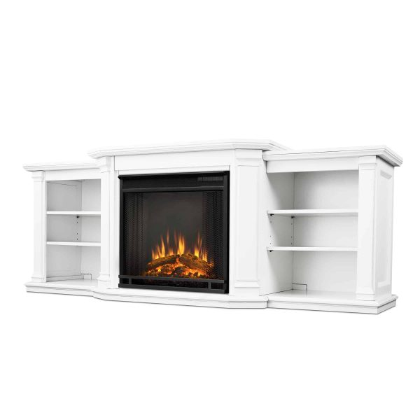Valmont Entertainment Center Electric Fireplace in White by Real Flame