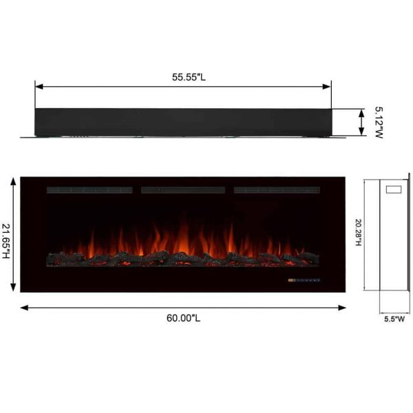 Electric Fireplace Recessed Heater w/ Touch Screen Panel & Remote Control