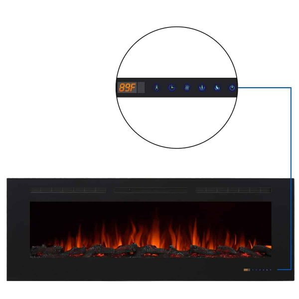 """Valuxhome Armanni 60"""" 750W/1500W, Electric Fireplace Recessed Heater w/ Touch Screen Panel & Remote Control 2"""