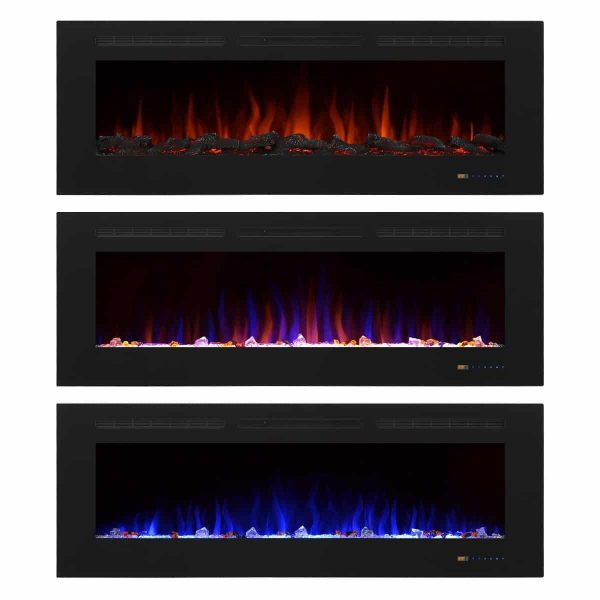"""Valuxhome Armanni 60"""" 750W/1500W, Electric Fireplace Recessed Heater w/ Touch Screen Panel & Remote Control 3"""