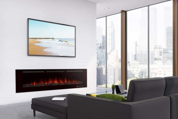 """Valuxhome Armanni 60"""" 750W/1500W, Electric Fireplace Recessed Heater w/ Touch Screen Panel & Remote Control 4"""