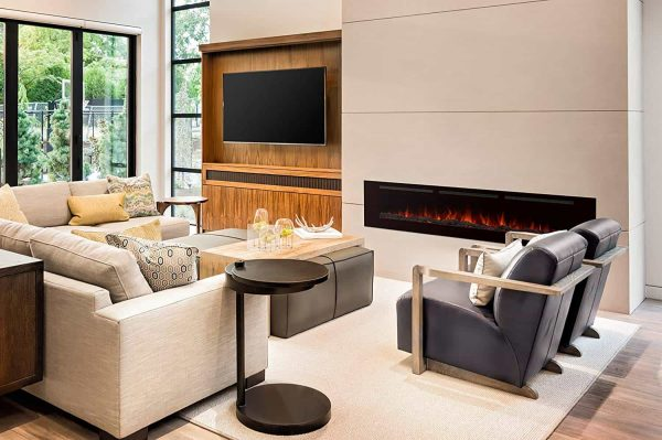 """Valuxhome Armanni 60"""" 750W/1500W, Electric Fireplace Recessed Heater w/ Touch Screen Panel & Remote Control 5"""