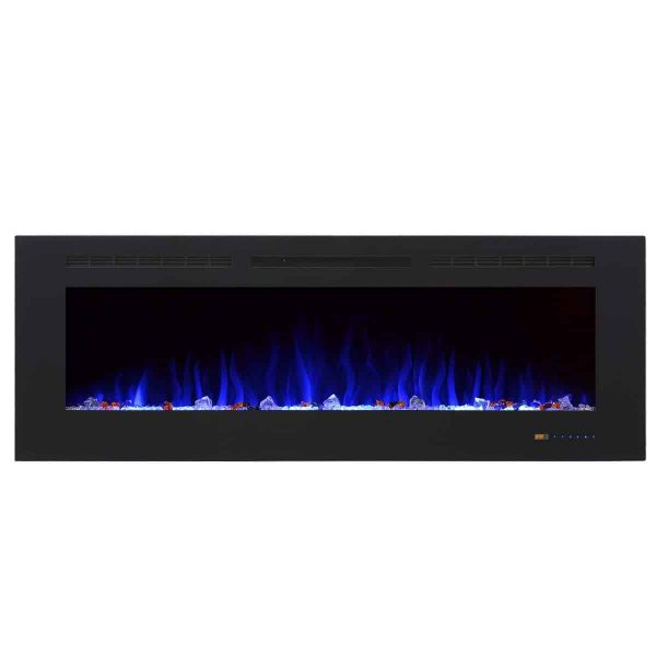 """Valuxhome Armanni 60"""" 750W/1500W, Electric Fireplace Recessed Heater w/ Touch Screen Panel & Remote Control 6"""