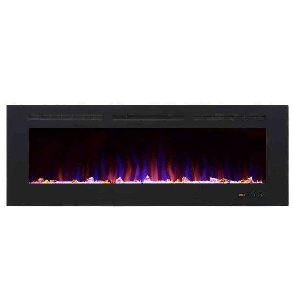 """Valuxhome Armanni 60"""" 750W/1500W, Electric Fireplace Recessed Heater w/ Touch Screen Panel & Remote Control 7"""