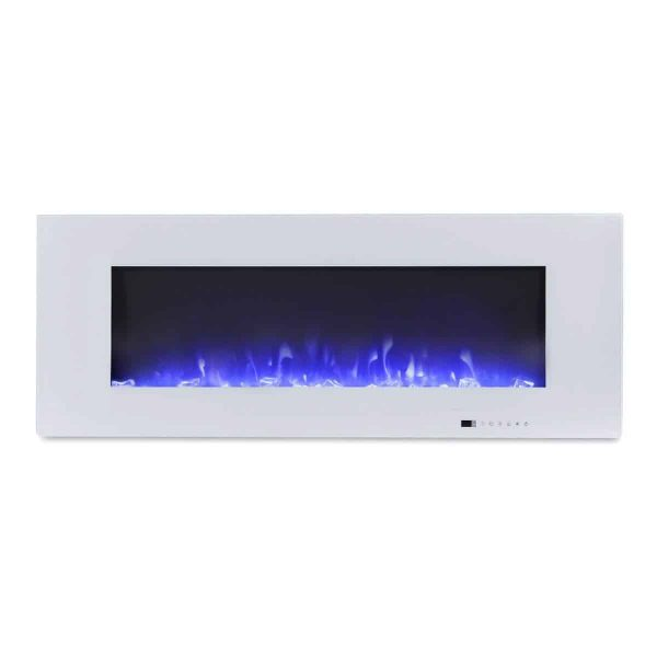 "Valuxhome Luxey 50"" 750W/1500W, Wall Mounted Electric Fireplace, Touch Screen Control Panel with Remote, Logsets and Crystals 4"