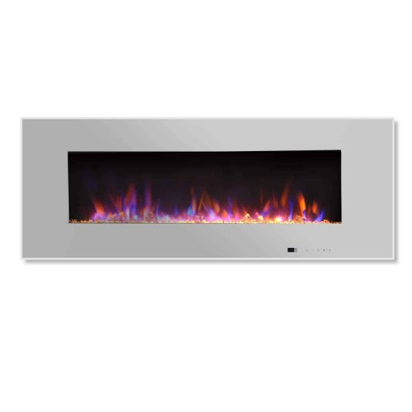 "Valuxhome Luxey 50"" 750W/1500W, Wall Mounted Electric Fireplace, Touch Screen Control Panel with Remote, Logsets and Crystals 5"