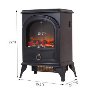 Compact Free Standing Electric Fireplace Heater