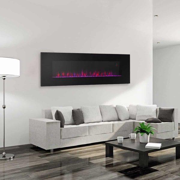 Ventless Electric Wall Mounted Modern Fireplace Heater