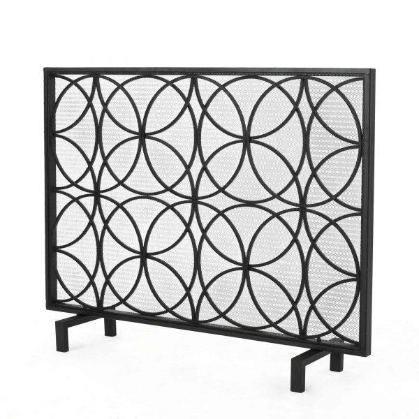 Veritas Single Panel Iron Fireplace Screen, Black 1