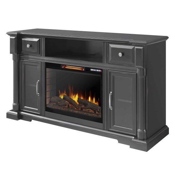 Vermont 60-in Media Electric Fireplace with Bluetooth in Aged Black Finish