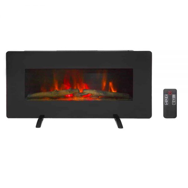 "Veryke 36"" Wall Mount Fireplace Heater, Wall Hanging Space Heater, Freestanding Electric Fireplace with Remote Control, Realistic Dancing Flame Effect, Black 1"