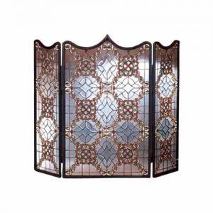 Victorian Beveled Folding Fireplace Screen