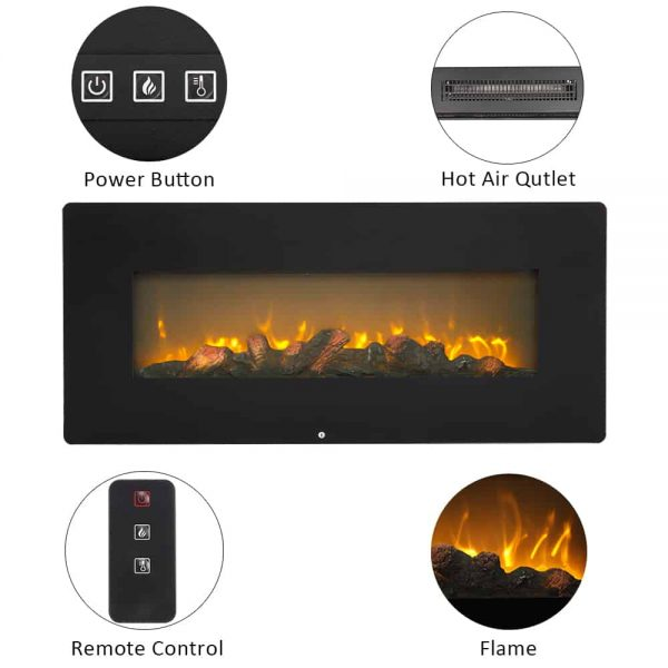 "Wall Hanging Electric Fireplace with Remote, 3D 1400W Electric Heaters for Indoor Use with Fake Wood 3 Flame Settings, Upgrade Space Heaters Fireplace Heater, 42""x4""x17"", CSA Certified, Q6649 2"