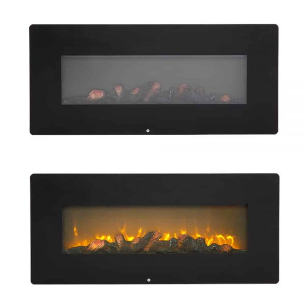 """Wall Hanging Electric Fireplace with Remote, 3D 1400W Electric Heaters for Indoor Use with Fake Wood 3 Flame Settings, Upgrade Space Heaters Fireplace Heater, 42""""x4""""x17"""", CSA Certified, Q6653 5"""