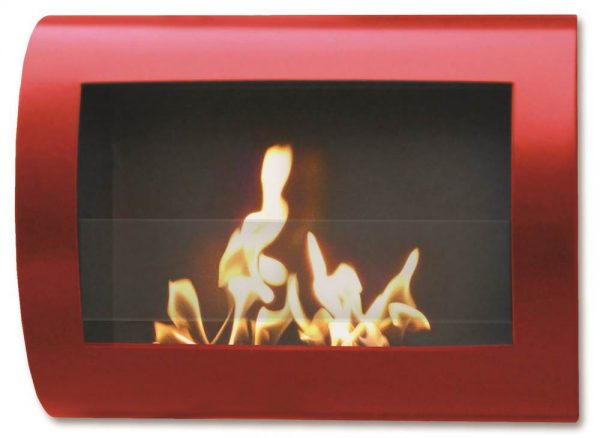 Wall Mount Fireplace in High Gloss Red Finish