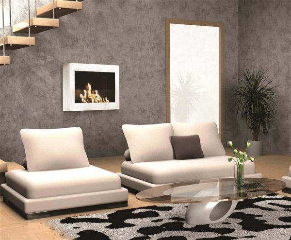 Wall Mount Fireplace in High Gloss White Finish 1