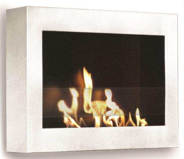 Wall Mount Fireplace in High Gloss White Finish