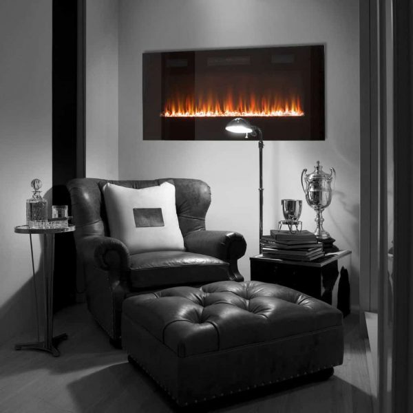 Wall Mounted Electric Fireplace in Black by Paramount Premium 4