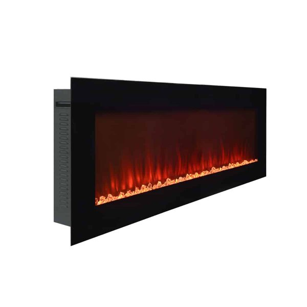 Wall Mounted Electric Fireplace in Black by Paramount Premium 6
