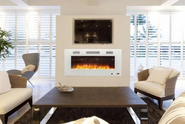 Wall Mounted Electric Fireplace in White by Paramount Premium 3
