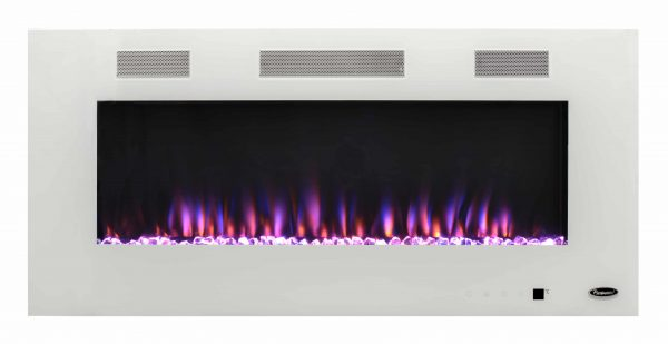 Wall Mounted Electric Fireplace in White by Paramount Premium