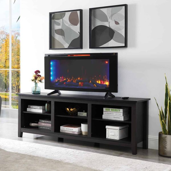 "Wall-Mounted Infrared Electric Fireplace Heater 42"" with Stand + Remote Control 3"