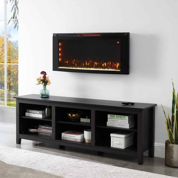 "Wall-Mounted Infrared Electric Fireplace Heater 42"" with Stand + Remote Control"