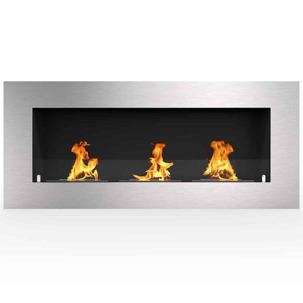 """Warren 42"""" PRO Ventless Built In Wall Recessed Bio Ethanol Wall Mounted Fireplace Similar Electric Fireplace"""