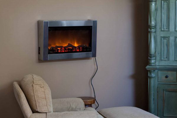 Well Traveled Living Stainless Steel Wall Mounted Electric Fireplace 1