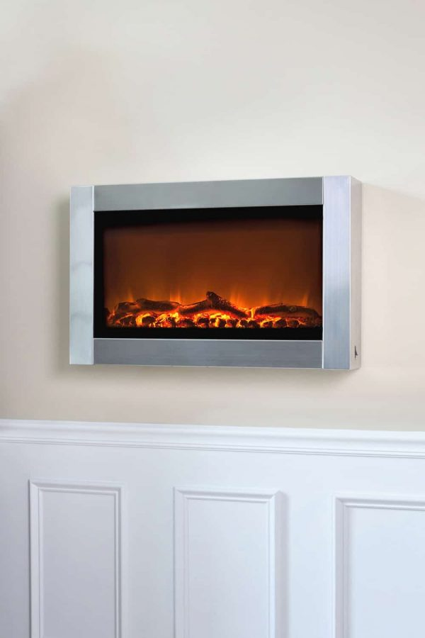 Well Traveled Living Stainless Steel Wall Mounted Electric Fireplace