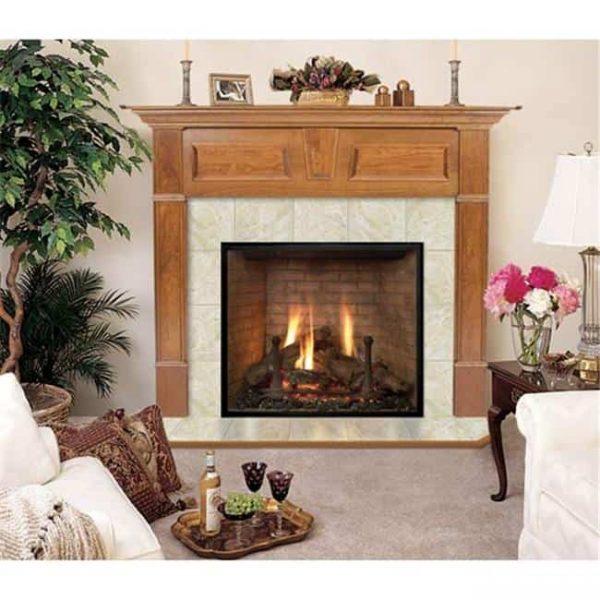Wellington R Flush Fireplace Mantel in Medium English Chestnut