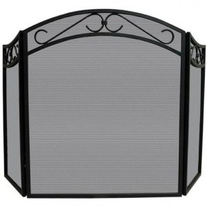 Wrought Iron Fireplace Screen w Scroll Design Accents