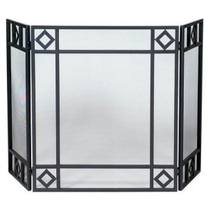 Wrought Iron Fireplace Screen with 3 Diamond-Accented Panels