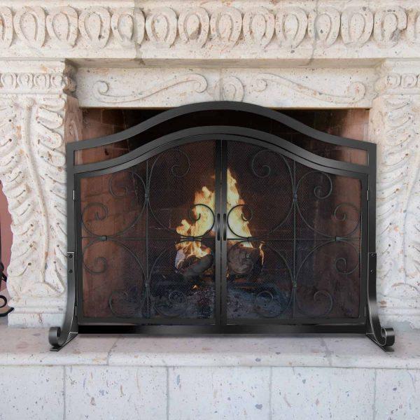 Wrought Iron Fireplace Screen with Doors Large Flat Guard Metal Decorative Mesh Cover Firewood Burning Stove Tools Black 1