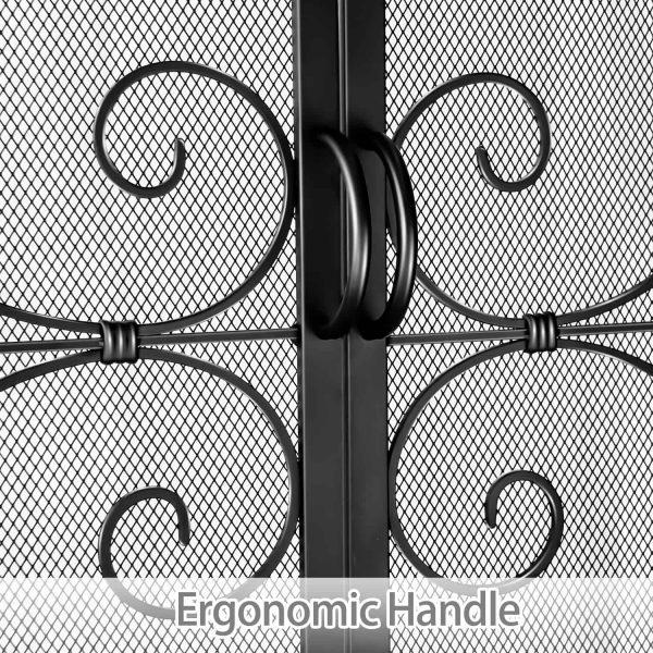 Wrought Iron Fireplace Screen with Doors Large Flat Guard Metal Decorative Mesh Cover Firewood Burning Stove Tools Black 4